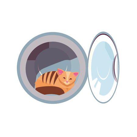 Cat in the washing machine drum. Cozy cat is naughty. Kitty inside laundry washer flat cartoon vector illustration isolated on white background. Joke element