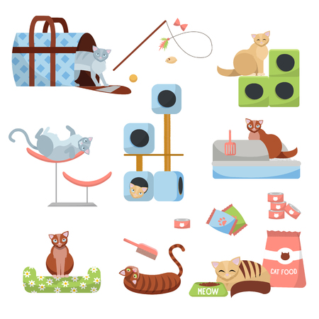 set de accesorios para gatos gatos: rascador, casa, cama, comida, bandeja, zapatilla, portabebés y juguetes con 8 gatos. Tienda de mascotas para gatos. Conjunto de elementos para el cuidado de gatitos.Ilustración de vector de dibujos animados plana. Ilustración de vector