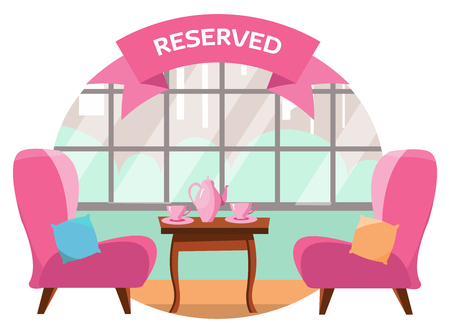 Lovely table in the cafe for two people near the panoramic window overlooking the city. On the table there are two pink cups and pot. The table is reserved. Flat cartoon vector illustration. Çizim