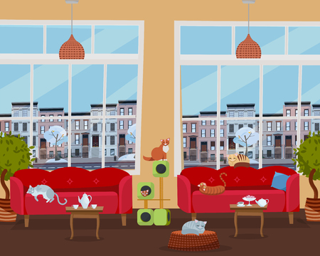 Interior of cat cafe with large windows, comfortable red sofas, tables with tea and coffee. Many cats on furniture and cat house with color scratching rope. Flat cartoon style vector illustration.