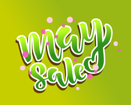 May sale flyer template with handwritten lettering. Poster, card, label, banner design. Bright and stylish sketched text. Vector illustration EPS10 일러스트