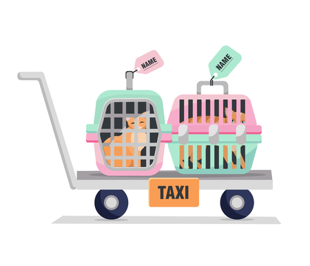 Pet taxi. Elements of personal travel cage with cats bag. Hand Truck with Two Plastic Carriers on white background. Flat cartoon vector illustration.
