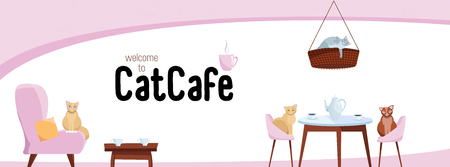 Fb Cover Web Banner Social Media Design Welcome to cat cafe Template Vector on white background.Cats sit on stylish chairs at cafe table, on cozy red soft chair. Flat cartoon vector illustration. Иллюстрация