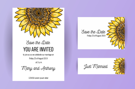 set of wedding invitation card flowers,Sunflower
