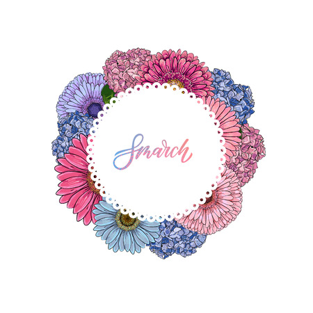 Hand drawn vector illustration. Vintage decorative round flowers composition of gerbera and Hydrangea. design elements for 8 march. Perfect for invitations, greeting cards, quotes, blogs, posters. Çizim