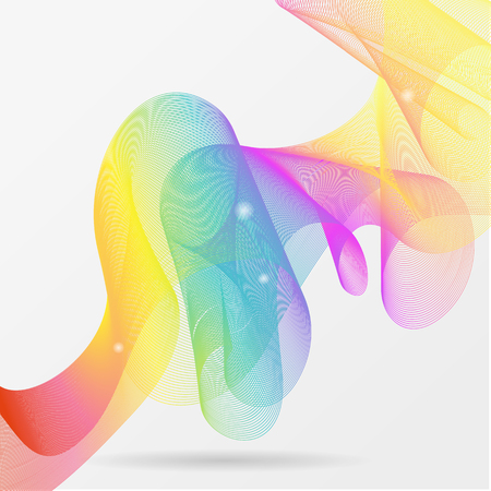Guilloche rainbow waves made of colorful gradient light blend line. abstract vector background. Иллюстрация