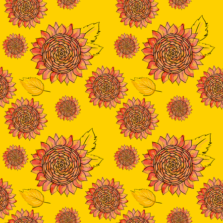 Sunflower vector seamless pattern with green leaves, imitating ink and watercolor on white background. Hand-drawn flower heads natural themed wallpaper, wrapping, packaging paper,birthday card design.