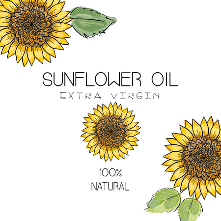 Vector illustration with 3 handdrawn sunflowers on white background. Design for sunflower oil, sunflower packaging, natural cosmetics, health care products.