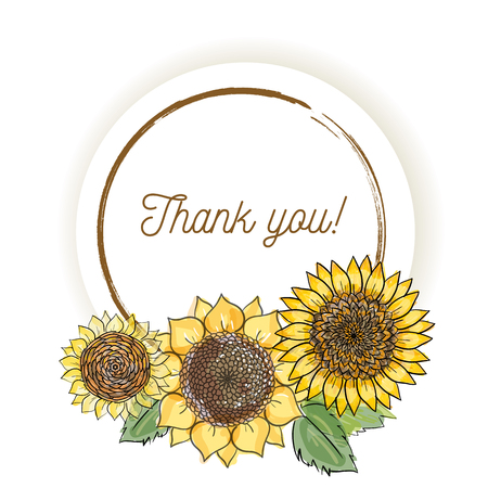 Natural vintage greeting card with inscription of words Thank youwith yellow sunflowers. Vector hand draw watercolor style illustration in round frame Çizim