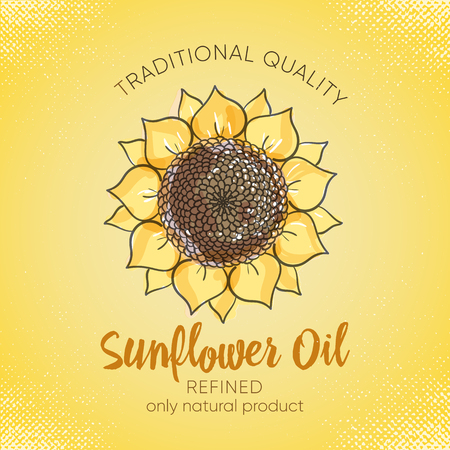 Label design template for refined sunflower oil. Vector sketch illustration with handdrawn sunflowers on yelow background for sunflower oil, sunflower packaging, natural cosmetics,health care products.