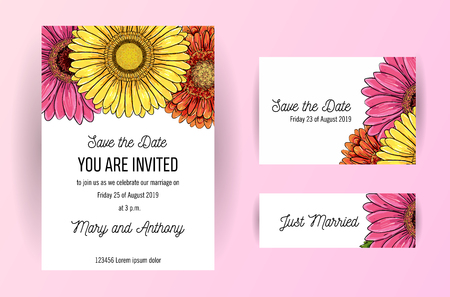 Set of wedding invitation card with flowers of gerbera. A5 wedding invitation design template on white background. Natural pink and yellow cards design template. Save the date cards in wedding suite