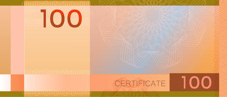 Voucher template banknote 100 with guilloche pattern watermarks and border. Green background banknote, gift voucher, coupon, diploma, money design, currency, note, check, cheque reward certificate