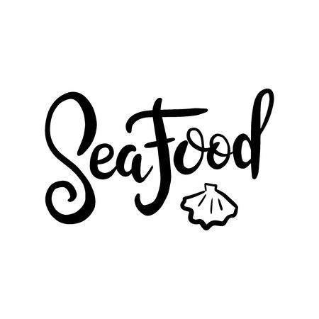 Meeresfrüchtemenüschablonenillustration für Restaurantwerbung auf strukturiertem weißem Hintergrund des Schmutzes. Handgezeichnetes Schriftgestaltungselement für Banner, Menü und Poster im Hipster-Stil Vektorgrafik