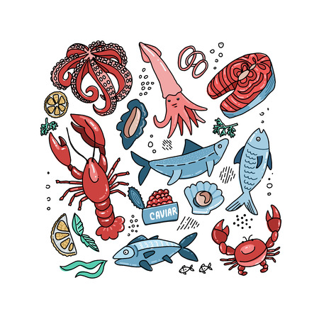 Set of flat color doodle hand drawn rough simple seafood sketches. Vector illustration on white background. Fish slices, lobster, crab, squid for web design, textile prints, covers, posters, menu.