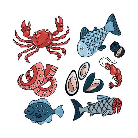 Set of falt color doodle hand drawn rough simple seafood sketches. Vector illustration isolated on white background. Seafood fish slices elements for web design, textile prints, covers, posters, menu. 일러스트