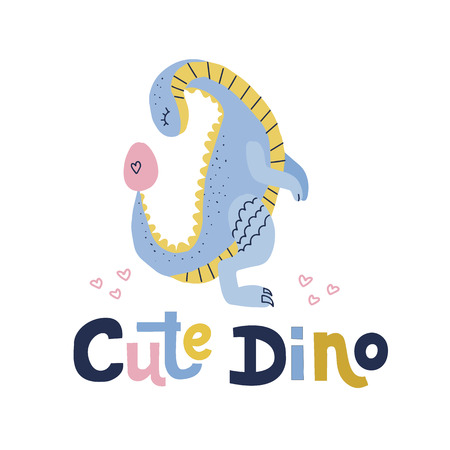 Cute dino lettering quote.Blue dinosaur with looking on egg flat hand drawn cartoon illustration. Vector clipart of scandinavian style character for children game, book, textile on white background.