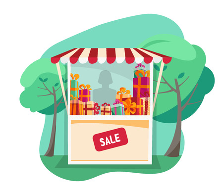 Showcase street festive tent with striped awning. Small street gift shop at park Fair. Storefront with stacks of gifts for summer sale on white background. Lighting shop window. Flat cartoon vector. Illustration