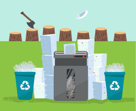 A pile of papers and documents stands above big floor shredder in front of many stumps. Many paperwork concept. Huge stacks of used paper and plastic recycle bins. Flat cartoon vector illustration