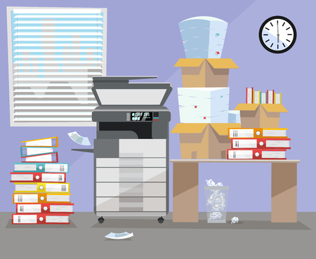 Office interior with multifunction Copier printer scanner, desk , clock near window. Copy machine with pile of documents, stack of papers in cardboard boxes. Flat cartoon vector illustration