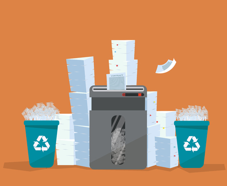 A pile of paper and documents stands above big floor shredder. . Many paperwork concept. Huge stacks of used paper and plastic recycle bins full of scraps of paper. Flat cartoon vector illustration