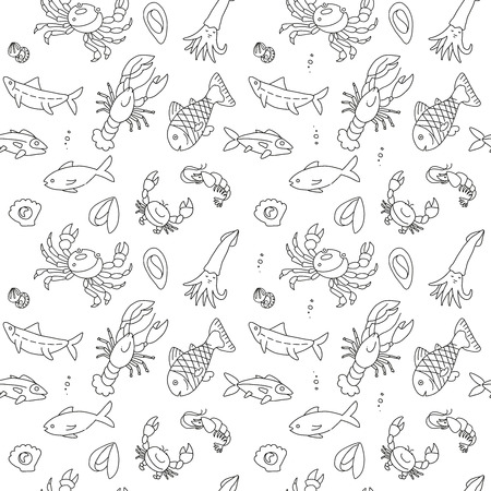 Seamless pattern with cute hand drawn fish and other marine inhabitants in doodle scandinavian style. Vector collection on white background.