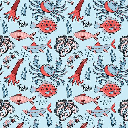 motif harmonieux de fruits de mer avec illustration de doodle dessinés à la main dans un style scandinave. Imprimer isolé en arrière-plan vlue. De nombreux habitants marins - poissons, poulpes, crabes, calmars. Vecteurs