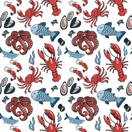 Seafood seamless patern with hand drawn doodle illusration in scandinavian style. Print isolated in white background. Many marine inhabitants - fishes, octopus, crab, lobster, shells.