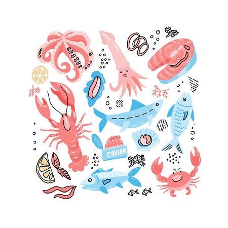 SeaFood Hand Drawn simple color Doodle with Fish, Crab, lobster, caviar, salmon steak and squid. Vector illustration. Ilustração