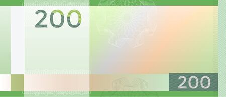 Voucher template banknote 200 with guilloche pattern watermarks and border. Green background banknote, gift voucher, coupon, diploma, money design, currency, note, check, cheque reward certificate