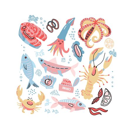 Sea Food Hand Drawn Doodle illustration in scandinavian style with Fish, Crab, lobster, caviar, salmon steak and Oyster. Vector marine inhabitants collection in rough simple colors childish style.