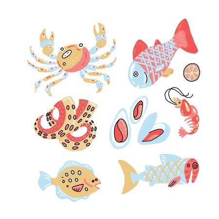 Set of flat color hand drawn rough seafood sketches in scandinavian style. Vector illustration isolated on white background. Seafood fish elements for kid menu, web design, textile prints, posters.
