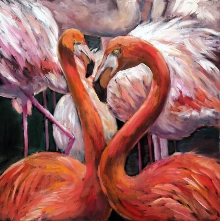 Oil painting couple of pink flamingos on dark background. Original impressionism oil picture on canvas of beautiful tropical birds.