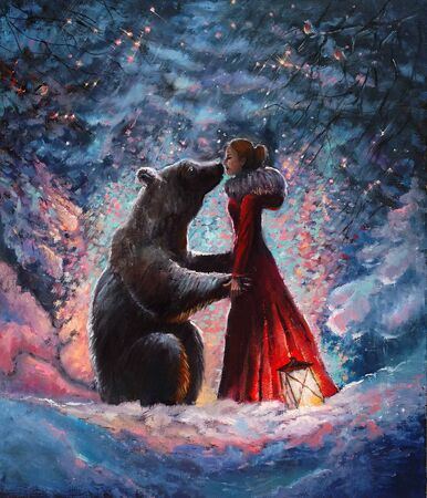 Oil paintein on canvas A girl in the red dress hugging and kissing a real brown big bear in the picturesque winter forest . Original impressionism oil picture on canvas of snowy ordinary miracle.