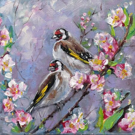 Oil painting of two goldfinch bird and flowers, oil on canvas. Couple Goldfinches Sitting on the Flower Branch Hand Painted Floral Greeting Card Illustration. European goldfinch, Carduelis carduelis