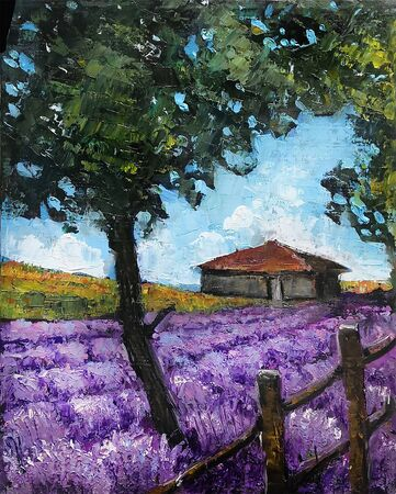 Oil painting on canvas. Lavender field. Modern art of palette knife. Daytime landscape with a violete field near stone cottage under the canopy of a tree. Original impressionism oil picture on canvas