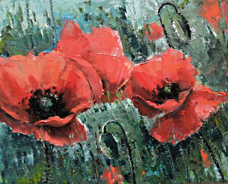 large red Poppies on the field - Oil Painting by palette knife. Big red flowers. Handmade oil painting on canvas, pictorial art. Original impressionism oil picture on canvas of summer blooming. Фото со стока