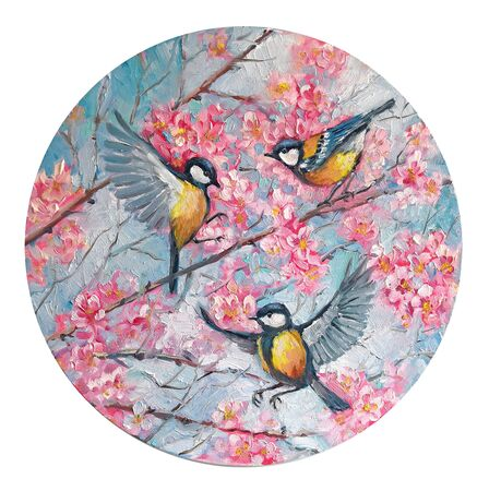 Tree birds titmouse on a branch of sakura cherry blossoms in the spring in the circle. Round shape. Oil Painting on canvas.. Original impressionism Hand drawn illustration of spring blooming tree Stock Photo