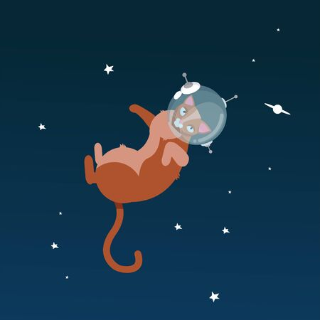 Funny cats astronauts in space isolated on starry sky background, vector illustration. Cat as a cosmonaut, space suit, funny futuristic design. Astronaut. Kitty in astronaut helmet Flying in space Иллюстрация
