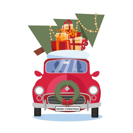 Flat vector cartoon illustration of retro car with gift boxes, snow and christmas tree on the roof on white background. Little classic red with driver. Vehicle is located in front with wreath