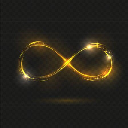 Symbole de l'infini brillant d'or. Signe transparent. Illustration vectorielle
