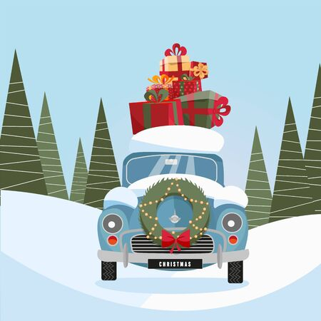 Flat vector cartoon illustration of retro car with present on the roof. Little classic red car carrying gift boxes on its rack. Vehicle's front decorated with wreath. snow-covered landscape with firs.