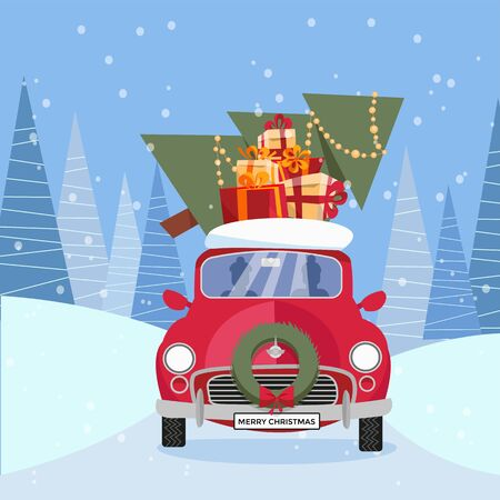 Flat vector cartoon illustration of retro car with presents, christmas tree on roof. Little red car carrying gift boxes. Vehicle is located in front, decorated with wreath. Winter snowy forest around. Banque d'images - 129472109