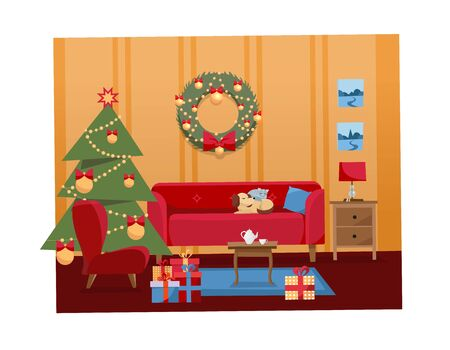 Christmas flat cartoon vector interior illustration of living room decorated for holidays. Cozy warm home interior with furniture, sofa, armchair, Christmas tree, gifts, gift boxes, balls, wreath.