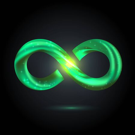 green fusion swoosh line infinity symbol. Vector 3d volume illustration on black background.