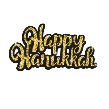 Happy Hanukkah golden glittering lettering for your greeting card design on isolated white background.