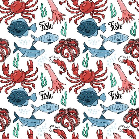 Sea food seamless pattern with hand drawn doodle illustration in outline scandinavian style. Print isolated in white background. Many marine inhabitants - fishes, octopus, crab, squid, algae.