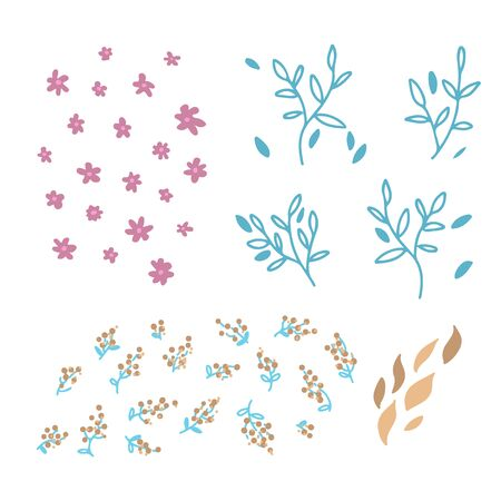 Set of vector hand drawn doodle floral elements. Decoration elements for simple design invitation, wedding cards, valentines day, greeting cards.