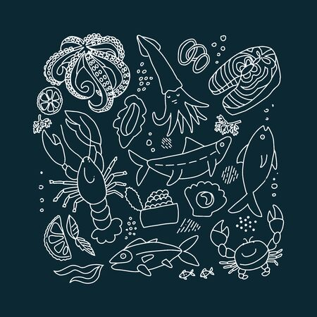 Chalk style Set of flat color doodle hand drawn rough seafood sketches.Vector graphic collection of marine inhabitants in outline doodle style on black background. Fish slices, lobster, crab, squid. Illustration