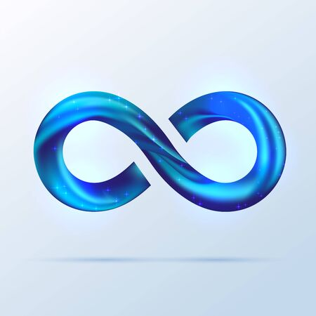 Bright blue fusion swoosh line infinity symbol. Vector 3d volume illustration isolated on white background. Sparkle Infinity sign, Logo for presentation. Mint neon spiral wavy line. Illustration