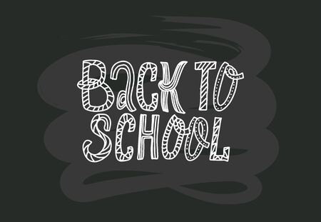 Back to school doodles lettering quote on black chalkboard. black and white hand drawn phrase. Grotesque script text. Simple dots with ornament. Cards, banners, prints, poster, smm, pins, stikers